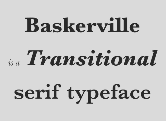 Font serif transitional